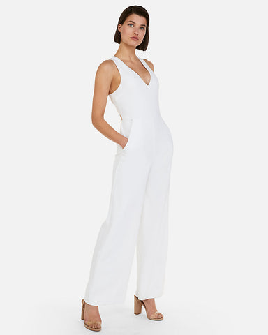 000981d9cd9d EXPRESS Cross Back Wide Leg Jumpsuit in White
