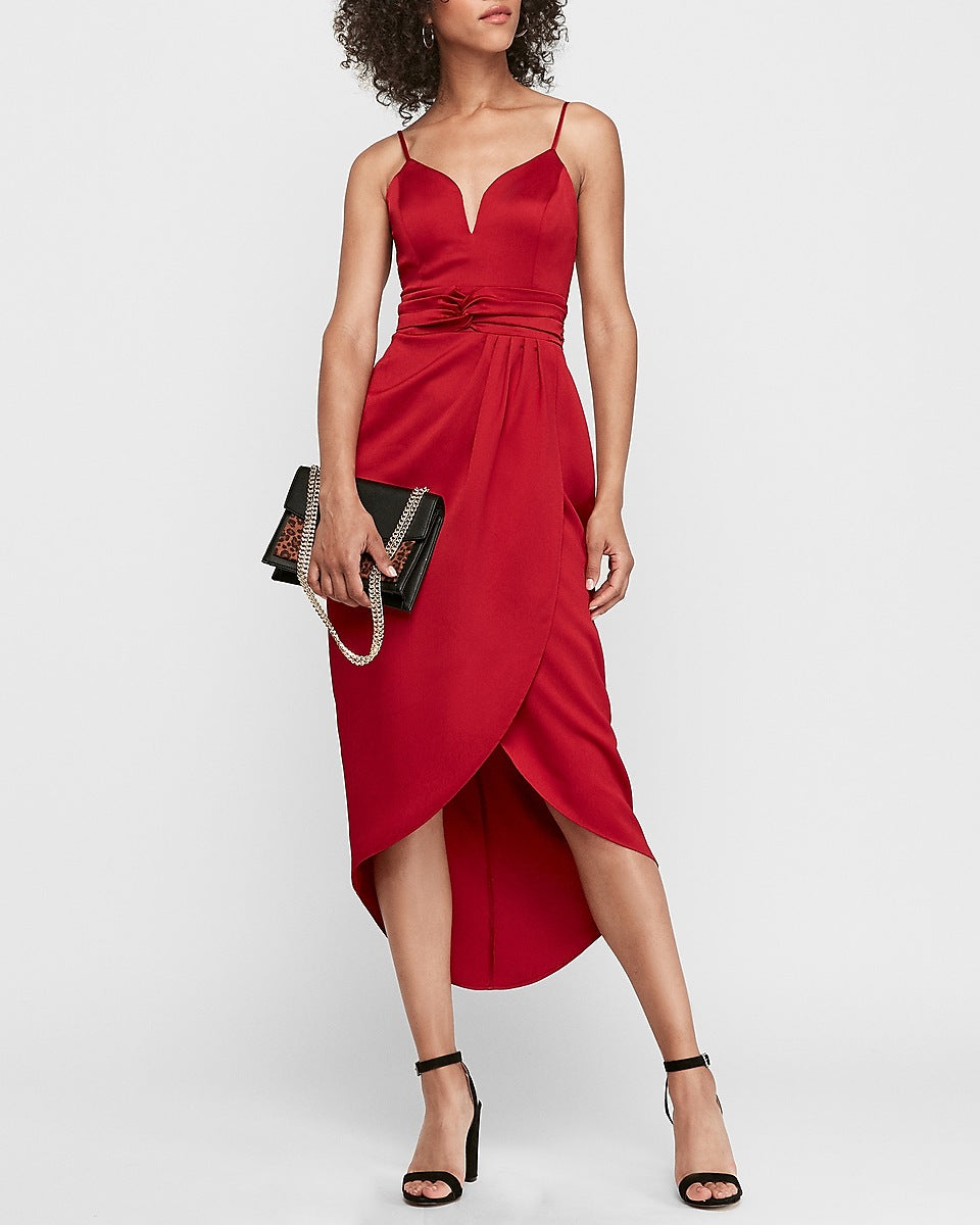 Express | V-Wire Satin Hi-Lo Maxi Dress