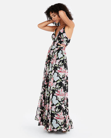 Floral Cut-Out Maxi Dress In Black Print