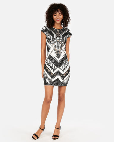 Short Sleeve Sequin Sheath Dress In Multi