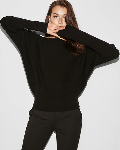 Horizontal Ribbed Dolman Sleeve Sweater In Pitch Black