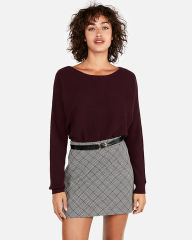 Horizontal Ribbed Dolman Sleeve Sweater In Cabernet
