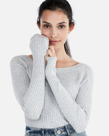 Ribbed Bateau Neck Sweater In Silver Gray