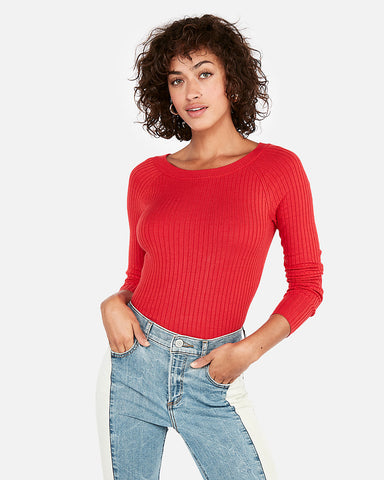 Ribbed Bateau Neck Sweater In Red