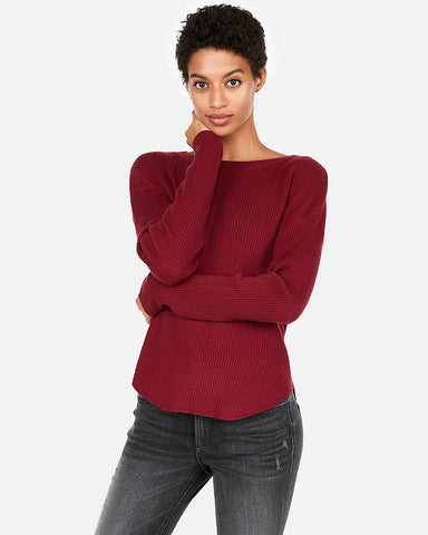 Ribbed Shirttail Hem Sweater in Desire Red