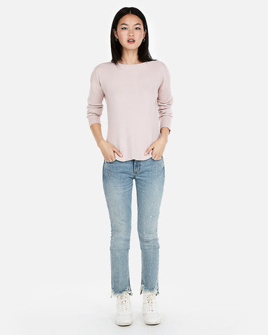 Ribbed Shirttail Hem Sweater in Pale Pink
