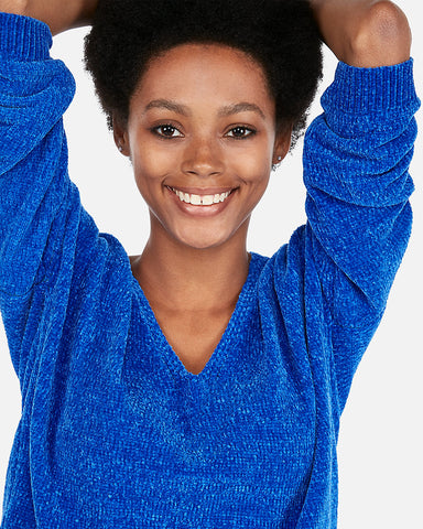 Velvet Chenille V-Neck Sweater In Blue