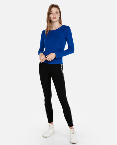 Fitted Jersey Bateau Neck Sweater in Blue