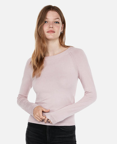 Fitted Jersey Bateau Neck Sweater in Pale Pink