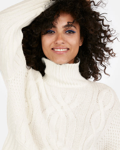 Cable Knit Abbreviated Turtleneck Sweater in Soft Ivory