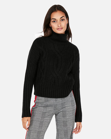 Cable Knit Abbreviated Turtleneck Sweater in Black