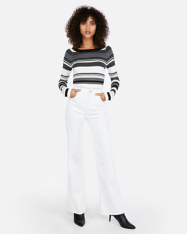 Striped Bateau Neck Fitted Sweater in Gray Stripe