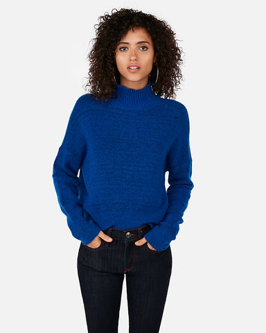 Funnel Neck Pullover Sweater in Celestial Blue