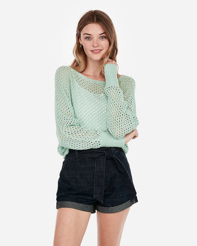 Open Stitch Dolman Sleeve Sweater in Light Green