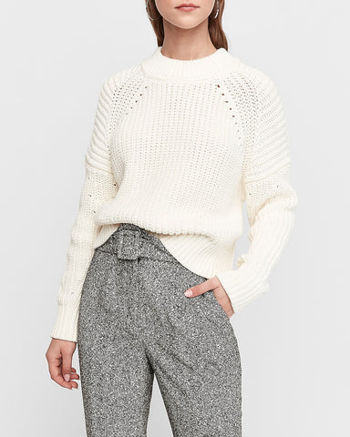 Mixed Stitch Pullover Sweater in Ivory