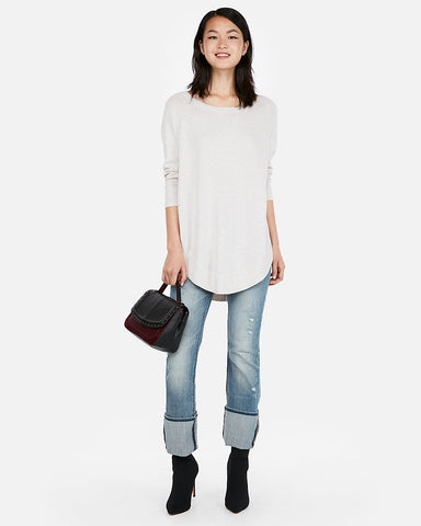 Marled Extreme Circle Hem Tunic Sweater in Neutral