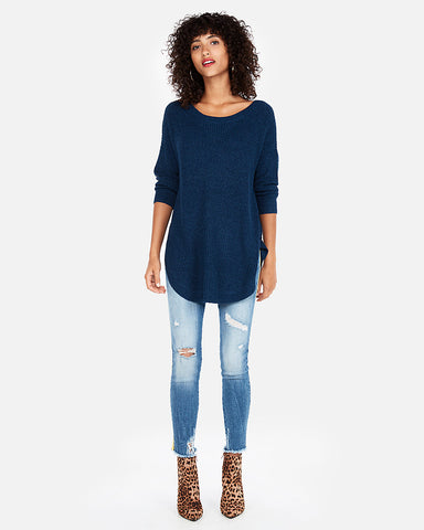 Shaker Knit Circle Hem Sweater In Twilight Blue