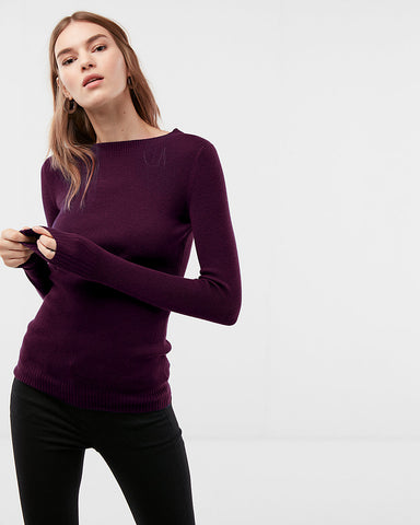 Fitted Crew Neck Sweater In Currant