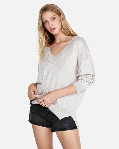 Oversized Deep V-Neck Tunic Sweater In Soft Alabaster