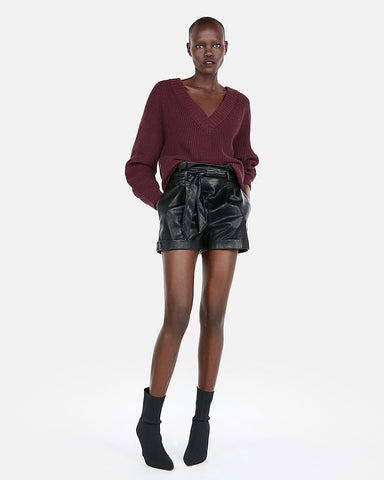 Oversized Shaker Knit Deep V-Neck Tunic Sweater In Maroon