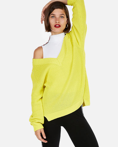Oversized Shaker Knit V-Neck Tunic Sweater In Neon Yellow
