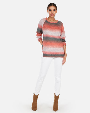 Ombre Space Dye Oversized Tunic Sweater in Red Print