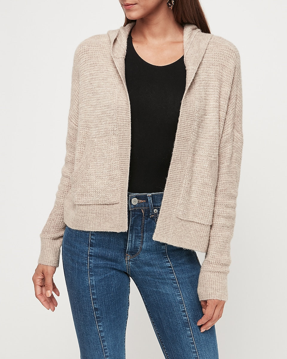 Express | Thermal Hooded Cardigan in Camel Heather | Express