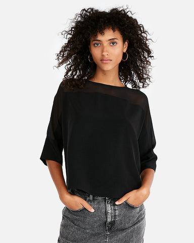 Sheer Yoke Blouse In Pitch Black