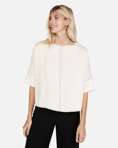 Contrast Stitch Cocoon Top In Soft Ivory