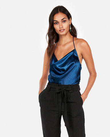 Satin Cowl Neck T-Back Cami In Blue