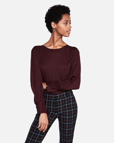 Puff Sleeve Large Button-Cuff Blouse In Cabernet