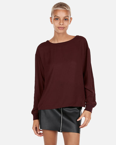 Snap Sleeve Dolman Blouse in Cabernet