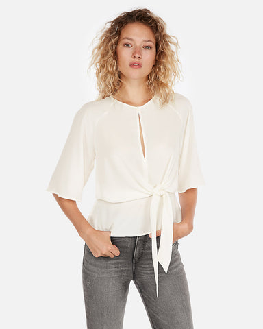 Tie Front Flutter Sleeve Blouse In Soft Ivory