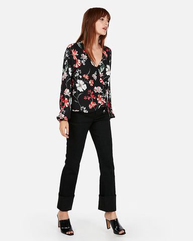 Floral Print Kimono Sleeve Surplice Wrap Top in Black Print