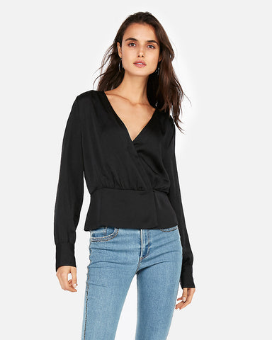 Surplice Wrap Front Top in Black