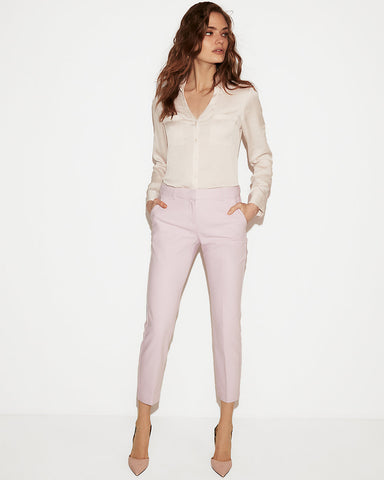 Slim Fit Satin Portofino Shirt In Pale Pink