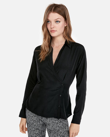 Side Button Surplice Shirt In Pitch Black