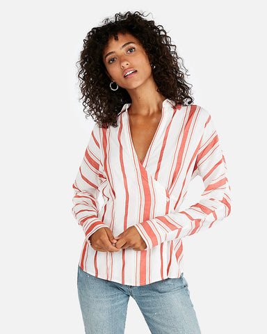 Striped Side Button Blouse In Orange Stripe
