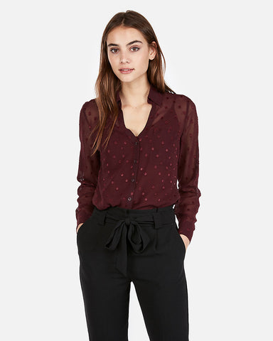 Slim Dotted Sheer Portofino Shirt  In Maroon