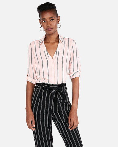 Slim Fit Striped Covered Button Portofino Shirt In Pink Stripe