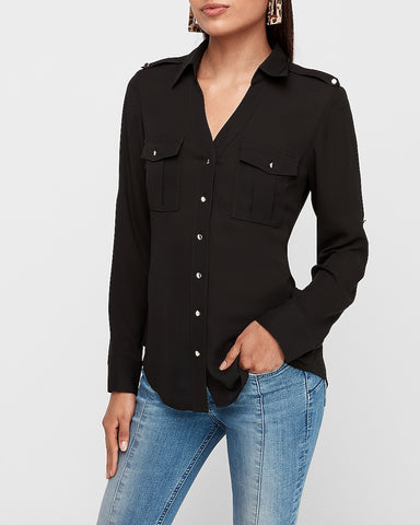 Slim Military Utility Portofino Shirt in Pitch Black