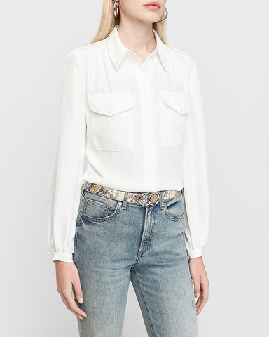 Balloon Sleeve Utility Shirt in White