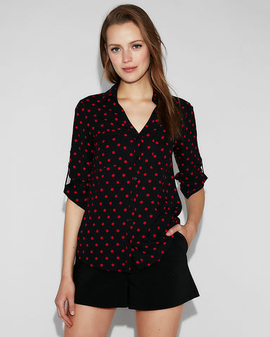Slim Fit Polka Dot Portofino Shirt In Black Print