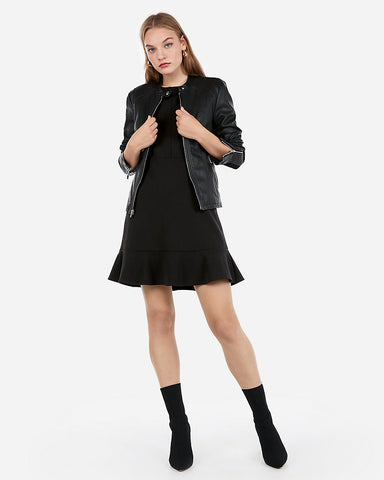 (Minus The) Leather Double Peplum Jacket In Pitch Black