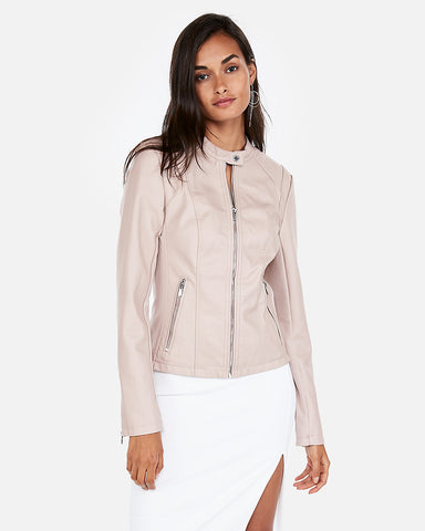 (Minus The) Leather Double Peplum Jacket In Pale Pink