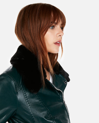 Faux Fur Collar (Minus The) Leather Jacket in Amazon Green