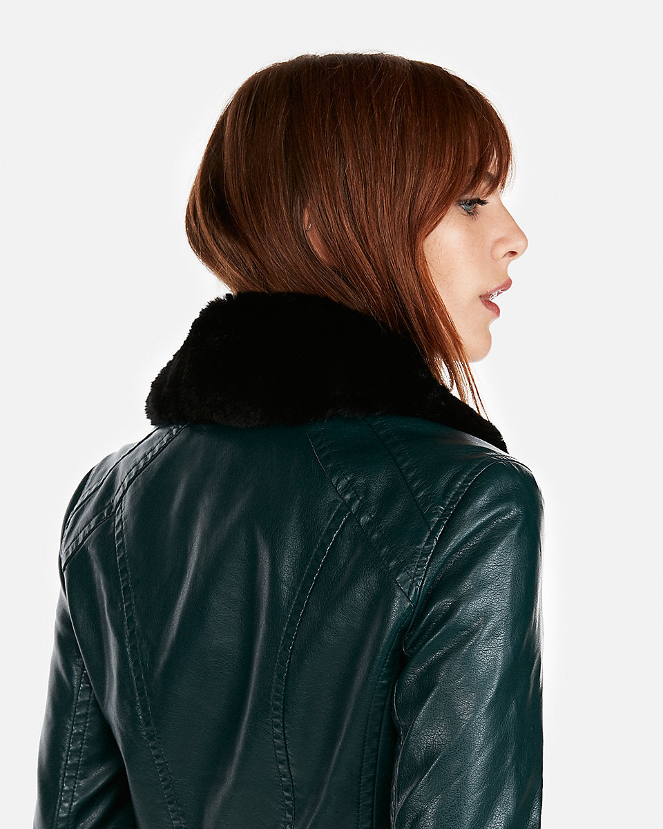 Express Faux Fur Collar Minus The Leather Jacket In Amazon Green