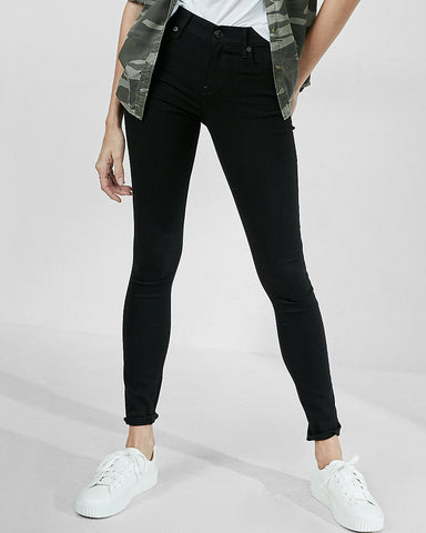 Black Mid Rise Stretch Jean Leggings In Pitch Black