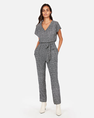 V-Neck Short Sleeve Jumpsuit In Gray Print