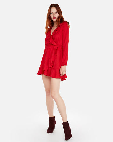 Ruffle Elastic Waist Wrap Dress In Red
